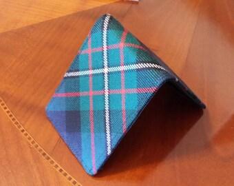 Mens  wallet slimline  Modern Ferguson  Tartan billfold   7 Pocket Plaid Bifold wool billfold standard size