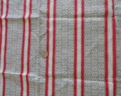 Lovely 1940s Grey Red Striped Cotton Fabric Yardage