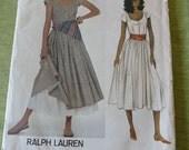 Vintage Vogue 2947 American Designer Ralph Lauren Dress Petticoat and Scarf Sewing Pattern size 6 UNCUT