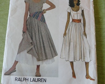 Vintage Vogue 2947 American Designer Ralph Lauren Dress Petticoat and Scarf Sewing Pattern size 6 UNCUT