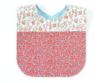 Vintage Fabric Patchwork Bib   Pink/Red Dainty Floral Calico   Cute Baby Shower Gift