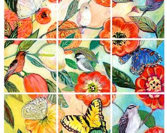 Birds & Butterflies Print by Jenlo, 2 sizes