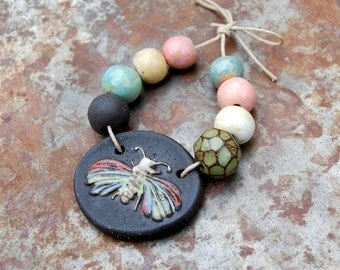 Flutter / Ceramic Butterfly/Moth Pendant and Bead Set