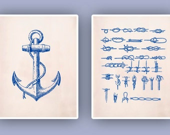 Nautical art, Nautical Prints, sailor knots art, anchor print, Marine Knots, Nautical Anchor, Nautical Coastal Prints, beach cottage 8x10