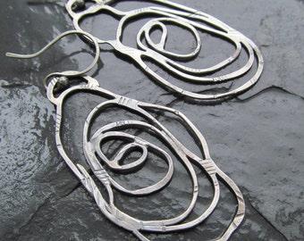 Large Silver Hoop Earrings Funky stamped silver Swirl Scribble Hoops Long Dangling Earrings
