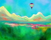 The Great Beyond - landscape print of hot air balloon art by Aja 8x10 or 16x20 inches choose size