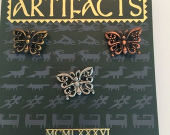 J&J Artifacts butterfly trio gold tone, silvertone  and copper tone clutches lapel pins  vintage oldstock