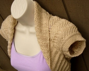Mocha Cream Knit Shrug with Fern Lace, size:Medium  beige tan brown bolero shrug knitted vest sweater wedding bridal evening prom cover-up