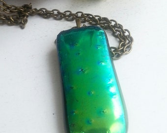 Long green dichroic glass necklace