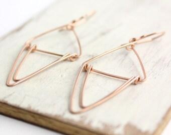 Rose Gold Triple Triangle Earrings