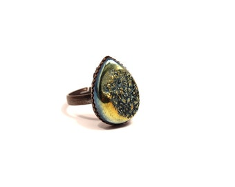Green Drusy Ring Arcturus Metallic Citrus Rainbow Lemon Lime Titanium Druzy Quartz on Antiqued Copper Adjustable Teardrop Rear Raindrop Drop