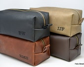 Leather Shaving Bag with Free Initials and Optional Interior Message