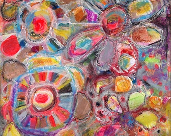 Wheel of life #4, Original 8x8 inch Canvas - 30% OFF