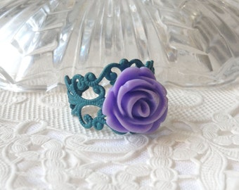 Turquoise Purple Ring Teal & Lilac Floral Ring Pretty Turquoise Mauve Flower Ring  Dark Lilac Flower Ring Teal Flower Ring