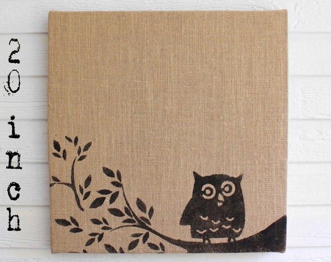 Owl on Branch -  Burlap covered Cork Message Board 20 inch - Pin Board, Tack Board, Memo Board, Bulletin Board - Owl Wall Decor  -