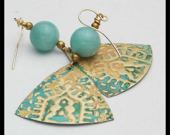 """EXOTIC INDIA - Amazonite - Handforged Embossed Patinated Bronze """"Arches of India"""" Earrings"""