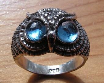 Owl Ring Sterling Silver With Aqua Aura Eyes