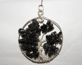 Tree of Life Pendant ~ Black Obsidian ~ Free Shipping