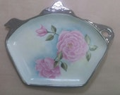 China Painted  Cabbage Rose Teapot ShapedTray