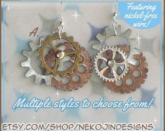Steampunk Gearrings - gear earrings - choose between surgical steel, plastic hooks, and clip-ons - jewelry cosplay accessories