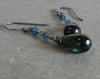 Bright Green Quartz Earrings Turquoise Bead Earrings Long Earrings Oxidized Sterling Silver Earrings