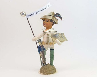 Vintage Inspired Spun Cotton Patriot Figure OOAK