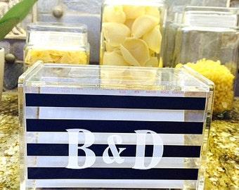 Personalized Recipe Box with 60 Cards and Dividers - Custom Recipe Box - Acrylic Recipe Box - Monogrammed Recipe Box - Acrylic Storage Box