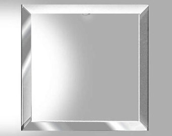 """2 pack ))(( 5"""" x 5 inch Square Clear Glass beveled on top and  FLAT on back side"""
