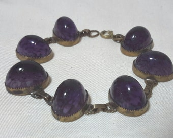 Purple cabochon jelly art glass bracelet 7 in