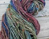Handspun Art Yarn - Merino Wool Silk Blend Yarn - Beaded Yarn - Tourmaline - Earthy Fiber Art Yarn - OOAK Yarn