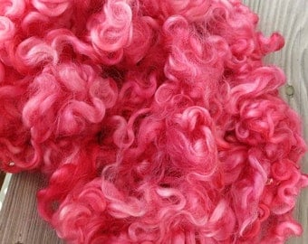 Cotswold Wool Locks - Hand Dyed Wool - Spinning Fiber - Felting Fiber - Pink, Coral - Lot OBX 2