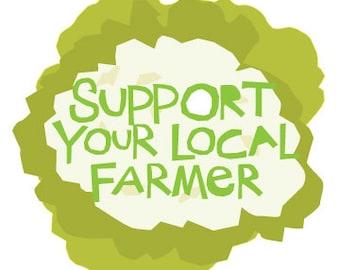 Support your local farmer bumper sticker cauliflower die cut decal