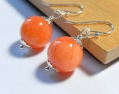 Peach Earrings, Apricot Orange Quartzite Drops, Coral Stone, Sterling Silver