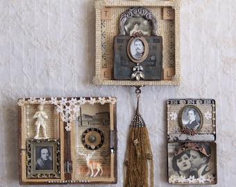 SHADOW BOX TRIO  - Romantic Set - Assemblage Art  #1276 #1277 #1278