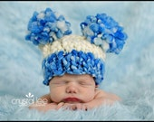 Little Boy Blue Double Fluff Baby Hat Photography Prop Ready to Ship