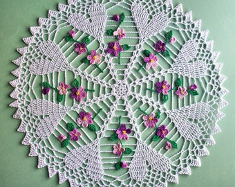 Hearts and Violets hand crocheted doily