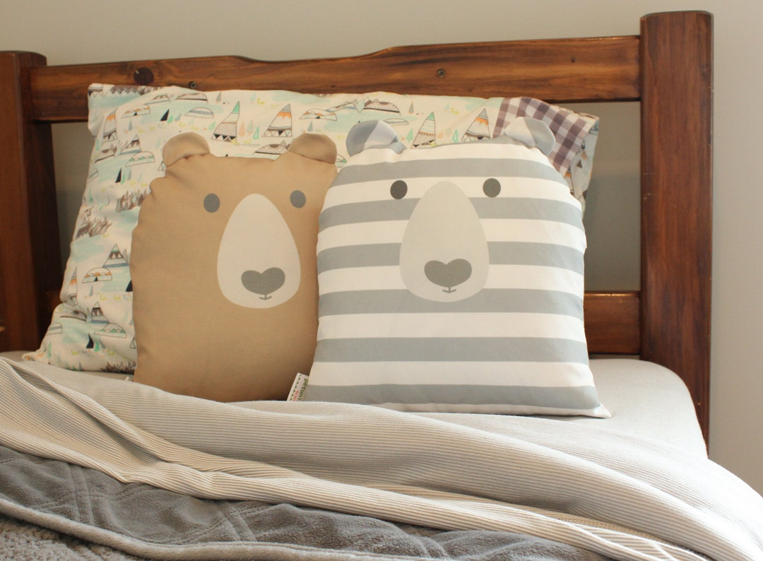 bear pillow cover 14 inch 14x14 modern hipster accessory home