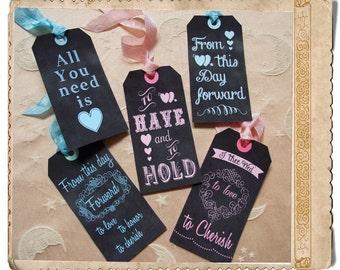 Chalkboard wedding tags instant download