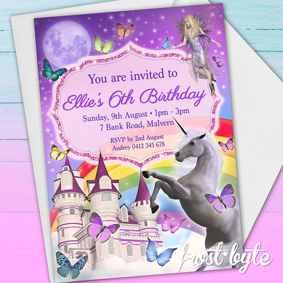 Unicorn Party Invitation 6th Birthday Castle Fairy