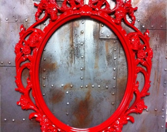 Gloss Red Skulls Oval  Picture Frame Mirror  Shabby Chic Baroque Gothic Victorian Tattoo