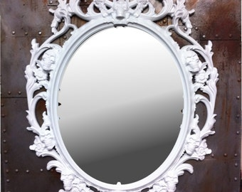 Gloss white skull mirror custom listing for Sarah