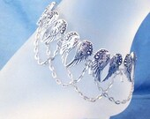 Angel Wings Silver Black Metal Anklet Jewelry Western Lady Rider Winged Heart Beach