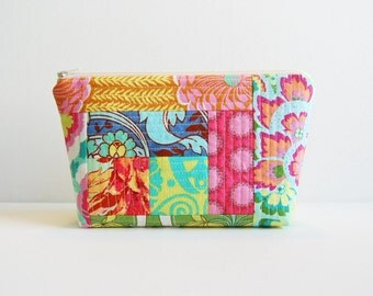 Quilted Patchwork Makeup Bag Cosmetic Case Padded Zipper Pouch Amy Butler Soul Blossoms