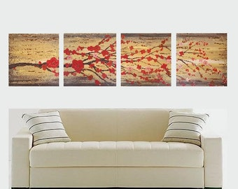 ORIGINAL Canvas Painting Art 4 Piece Set Textured Square Cherry Blossoms Brown Red Gold Modern Japanese Style Decor by Artist Heather Lange
