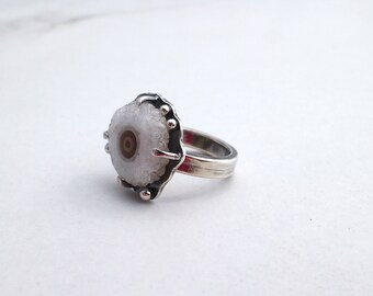 RESERVED - Solar Quartz Ring Stalactite Slice Sterling Silver Setting Size 7.25