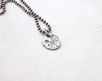 Fine Silver Botanical Pendant with Sterling Chain