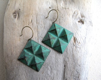 Lola. Patina Earrings, Verdigris Diamond Plate Dangles, Green Patina Geometric