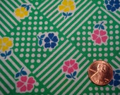 QUARTER YARD vintage fabric GREEN floral tiny print Blythe doll dressmaking quilt quilter quilting