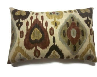 Decorative Lumbar Pillow Cover Ikat Design Dark Brown Olive Green Yellow Gold Burnt Orange Same Fabric Front/Back Throw Accent 12x18 inch x