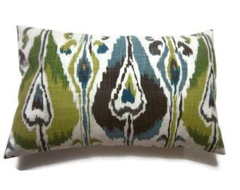 Decorative Pillow Cover Lumbar Blue Green Brown Chartreuse Natural Ikat Design Same Fabric Front/Back Toss Throw Accent 12x18 inch x